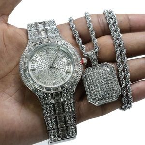 Fully Iced Out Watch and Dog Tag Necklace Set
